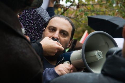 Hatem speaking about civil liberties, political repression and civil rights
