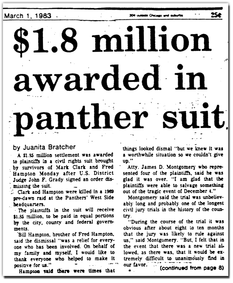 Million dollar settlement acheived in Black Panther case by civil rights lawyers in Chicago from People's Law Office