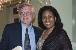 Civil rights lawyer Flint Taylor of People's Law Office who has handled Chicago Police Torture cases, with Ora Jones, cast member in play about Chicato police torture