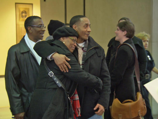 Wrongfully Convicted Terrill Swift with Mother (via CBS) False Confession Civil Rights