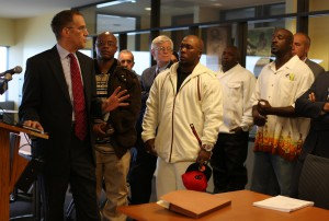 wrongfullyconvicted Dixmoor 5 with their civil rights attorneys (photo by Chicago Tribune)