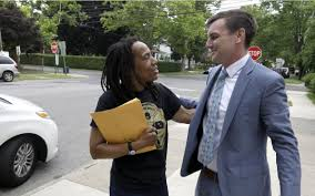 Debbie Africa with her attorney Brad Thomson, of People's Law Office